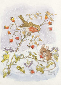Postcard Molly Brett | Robin and mouse, with reships and ivy in the snow
