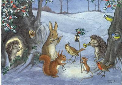 Postcard Molly Brett   Christmas Carols