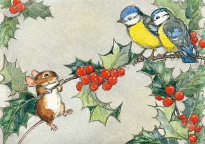 Postcard Molly Brett | On a Holly Tree Branch
