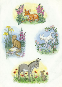 Postcard Molly Brett | Composite design with fawn, otter, lamb and donkey