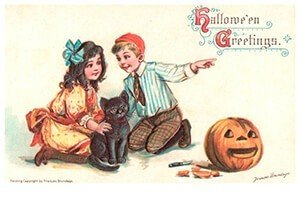 Victorian Halloween Postcard   A.N.B. - Halloween greetings