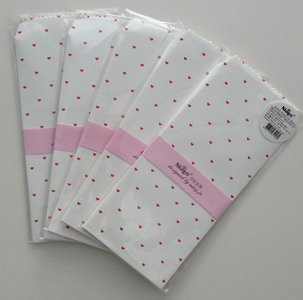 Natural Pattern Envelopes (Red Hearts on White)