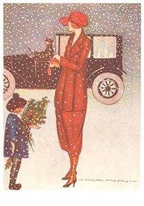 Postcard   Moeder met kind in de sneeuw (Art deco)