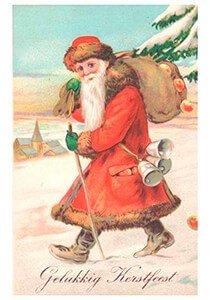Postcard   Kerstman loopt door de sneeuw