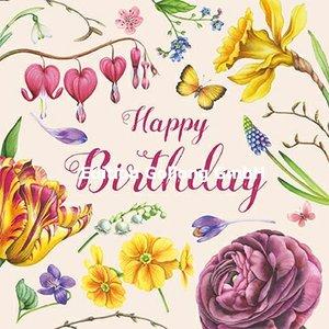 Nina Chen Postcard   Happy Birthday (Spring Flowers)