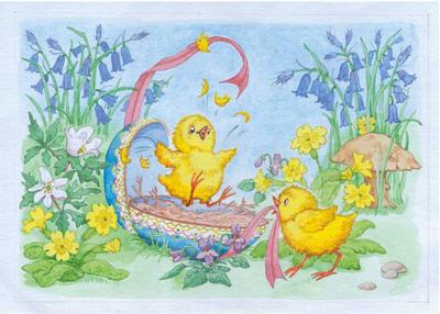 Postcard Molly Brett   Easter Chicks