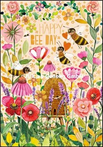 Mila Marquis Double Card | Happy Bee Day (bees and flowers)