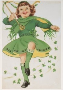Victorian Postcard | A.N.B. - St. Patrick's Day Juvenile Girl