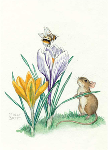 Postcard Molly Brett | A bee sits atop a purple flower as a mouse watches on