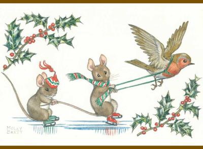 Postcard Molly Brett   Two mice ice skating