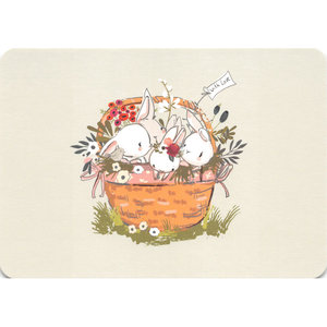 Postcard Gutrath Verlag | Hares in a basket
