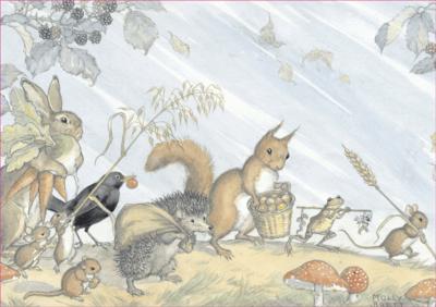 Postcard Molly Brett   Animals collecting Harvest