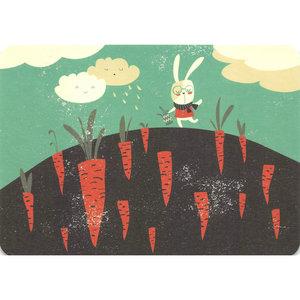 Postcard Gutrath Verlag | Little rabbit and carrot field
