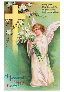 Victorian Postcard | A.N.B. - A peaceful happy easter
