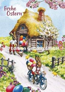 Carola Pabst Postcard | Frohe Ostern (Vintage Eierhaus)