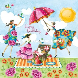 Nina Chen Postcard | Happy Birthday (Ladies with Picnic)