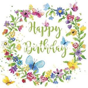 Carola Pabst Postcard | Happy Birthday (Flower Wreath)