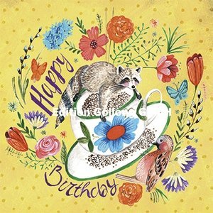 Cartita Design Postcard | Happy Birthday (Racoon)