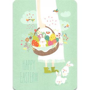 Postcard Gutrath Verlag | Girl with easter eggs