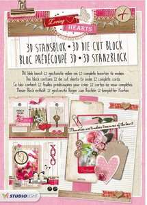 Studio Light A4 Die Cut Block | Loving Hearts