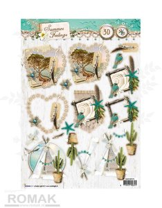 Studio Light Easy 3D Die-cut sheet A4 | Summer Feelings