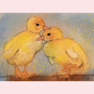Postcard Loes Botman | Two chickens