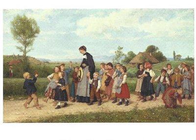 Postcard Albert Anker - The School Walk