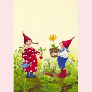 Postcard Daniela Drescher | Pippa en Pelle in de lentetuin