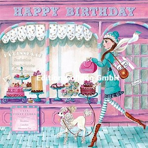 Cartita Design Postcard   Happy Birthday (woman with poodle)