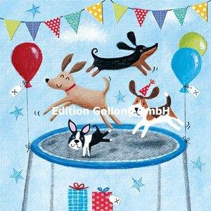 Advocate Art Postcard | Dogs on a trampoline