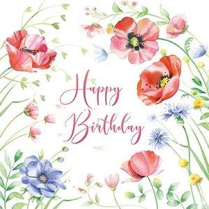 Nina Chen Postcard | Happy birthday (poppy flowers)