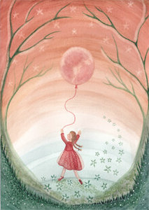 Postcard | Girl with moon balloon