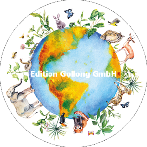 Round Postcard | Earth with animals