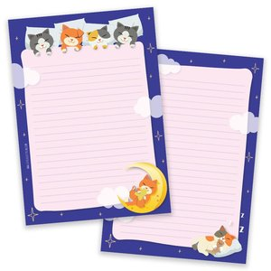 A5 Sleepy Cats Notepad - Double Sided