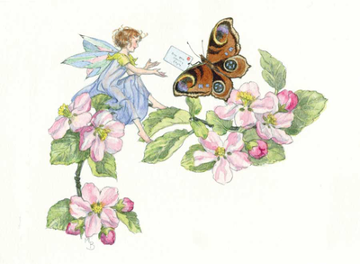 Postcard Molly Brett | Fairy receiving a letter from a peacock butterfly