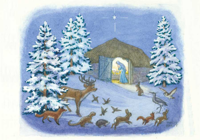 Postcard Molly Brett | Animals in the snow looking at Mary and Jesus in the stable