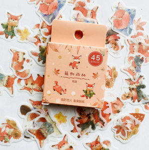 Sticker Flakes Box   Cute Fox & Leaves