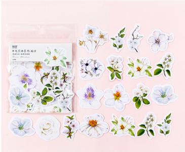 Sticker Flakes   Summer Flowers White