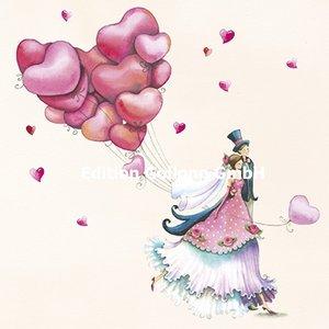 Nina Chen Postcard | Newlyweds with balloons