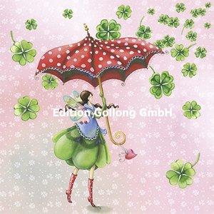 Nina Chen Postcard   Elf with lucky clover