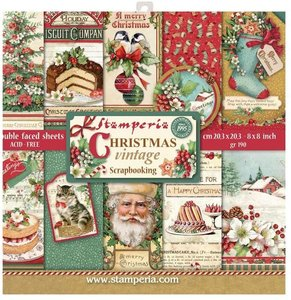 Stamperia Christmas Vintage 8x8 Inch Paper Pack