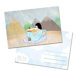 Tea-riffic Postcard by Zoi-Zoi