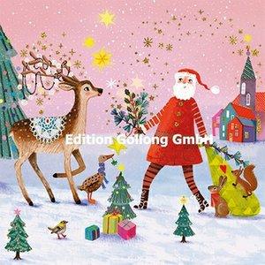 Mila Marquis Postcard Christmas | Santa Claus with deer