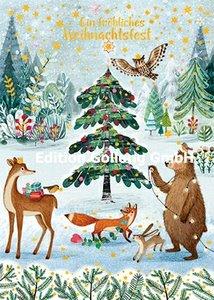 Mila Marquis Postcard | Fröhliches Weihnachtsfest (Animals in forest)