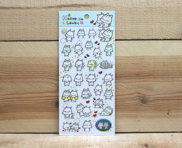 Happy Go Lucky Clear Stickers (Meow Meow)