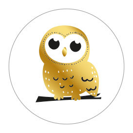 5 Stickers | Owl (Gold Foil)