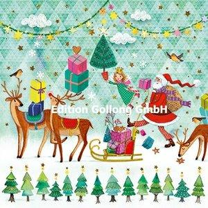 Mila Marquis Postcard Christmas | Santa Claus, Angel and deer