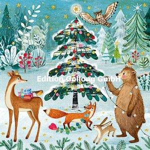 Mila Marquis Postcard Christmas | Dieren in het winterbos