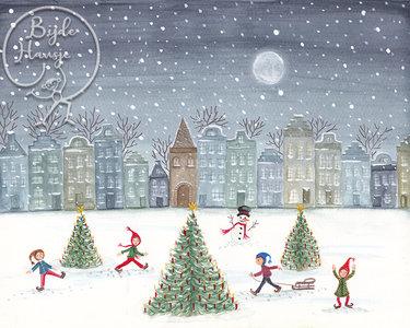 Postcard | Christmas skating