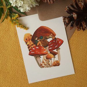 Tea time in autumn - Postcard with envelope